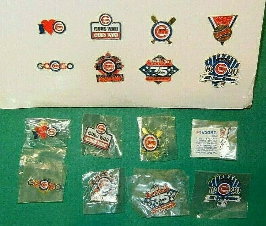 NEW!! ~ Lot of 8 Chicago Cubs Lapel Pins 'I LOVE CUBS' ~ UNO