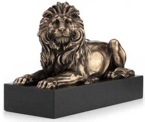 "8.5"" Lion Lying on Plinth Statue Animal Sculpture"