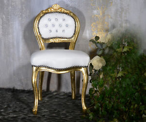 sessel stuhl sitzhocker barock glamour vintage louis dekoration wei gold 522. Black Bedroom Furniture Sets. Home Design Ideas