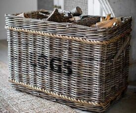 Large Wicker Log Basket with Rope - Rectangle