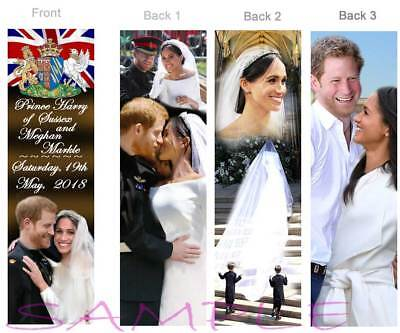3 Set Royal Wedding Prince Harry Princess Meghan Markle Bookmarks Card Keepsake