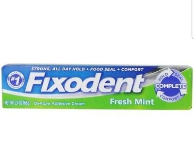 Fixodent Denture Adhesive Cream, Fresh Mint 2.40 oz Damaged box