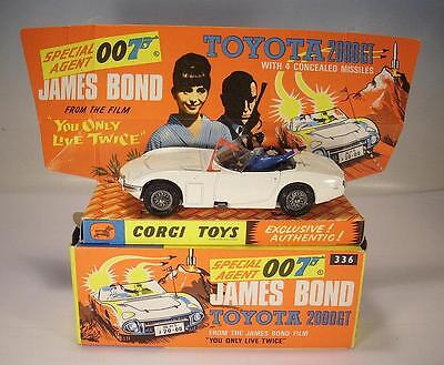 Corgi Toys 336 James Bond Toyota 2000 GT in crisp Original Box - all original !