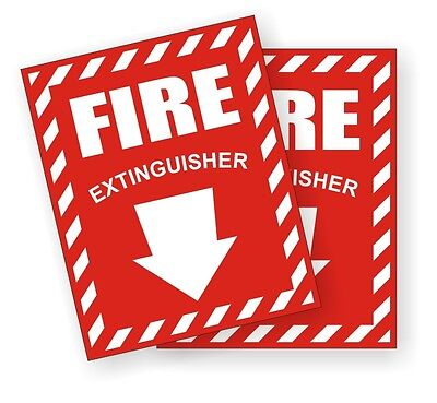 2 Fire Extinguisher Vinyl Decals Stickers W Down Arrow Markers Labels -pair