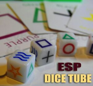 ESP DICE TUBE + MARKED E.S.P CARDS MIND READING DIE BOX NEW MENTAL MAGIC TRICK