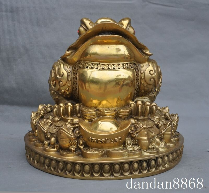 """12"""" Chinese brass fengshui yuanbao money coin fish golden toad bufo frog statue"""