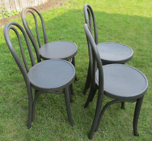 ANTIQUE SET OF 4 BENTWOOD KITCHEN SIDE CHAIRS