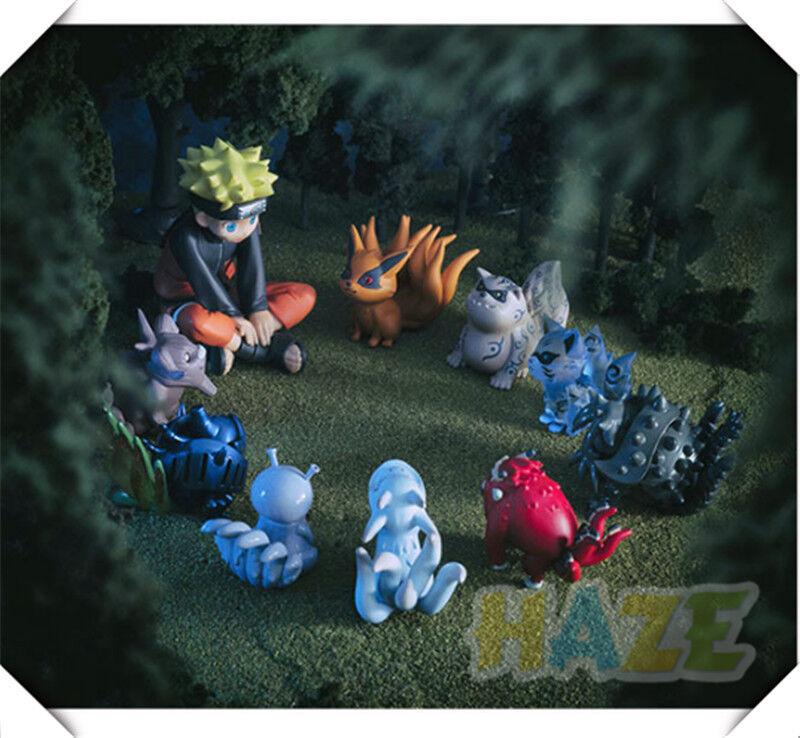 10pcs/Set Anime Naruto Shippuden Uzumaki&Tailed Beast PVC Figure Toys Collection