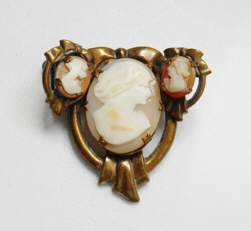 Vintage Faux Shell Cameo Brooch Pin & Earrings Set with Bow Pattern Setting