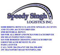 $1000 HIRING BONUS CLASS ONE SINGLES .54  AND TEAMS .66 DRIVERS
