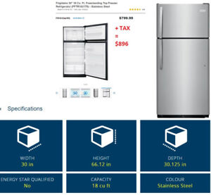 Stainless steel fridge 30x66x30 - $400 (North Vancouver)