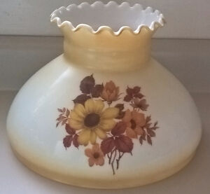 "Vintage Hurricane Lamp Shade Milk Glass-10"" Fitter"