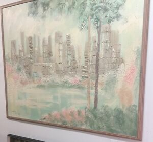 Large framed paintings: scene and hibiscus flower.