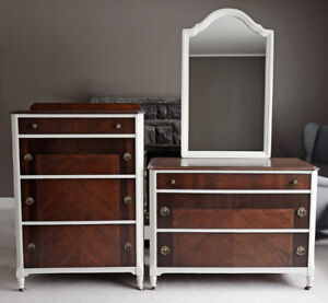 Set of 2 Restored Solid Wood 1940s Dressers & Mirror