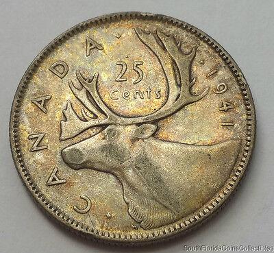 1941 Canada 25 Twenty Five Cents Quarter .800 Silver Coin