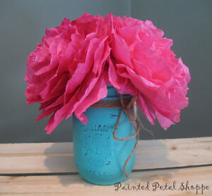 Fuchsia Coffee Filter Peony Arrangement/Rustic Wedding Decor Belleville Belleville Area image 1