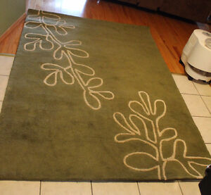 """Green Area Rug, Green 88""""L X 64""""W X 1/2"""" Thick"""