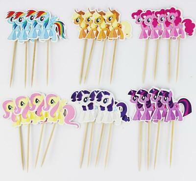 24 Muffin Topper Cupcake Deko MY LITTLE PONY Kuchen Torte Stecker Dekoration
