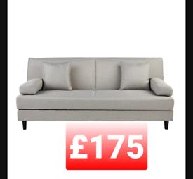 Fabric clic clac sofa bed. Grey. With storage