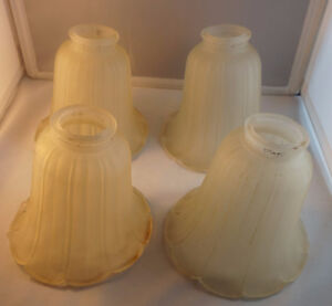 4U2C SET OF 4 HEAVY FROSTED LIGHT SHADES 2 INCH OPENING