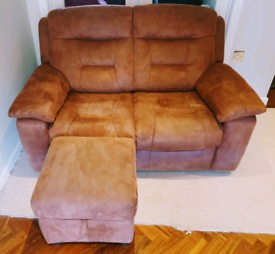 SOLD LIKE NEW 2 seater nubuck suede sofa, footstool