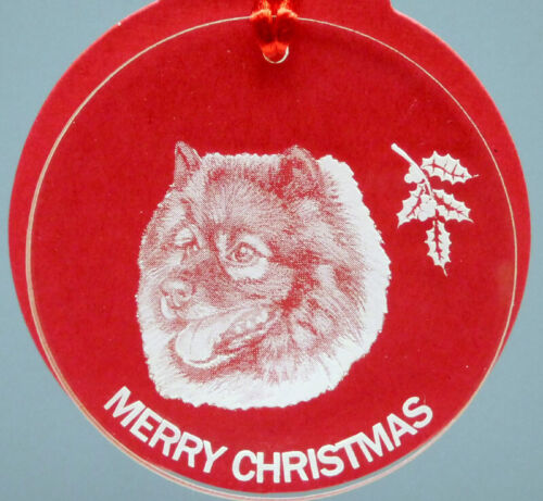 KEESHOND DOG ORNAMENT, LUCITE,