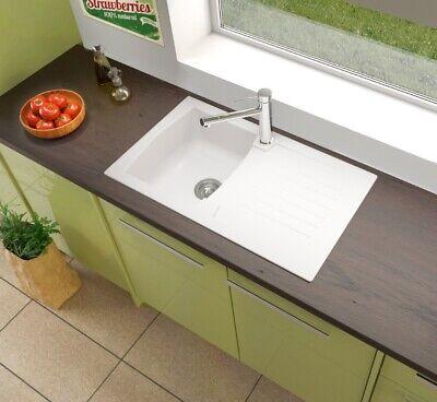 Fregadero Cocina Integrado Lavabo Granito Mineralite 86x50 Blanco respekta