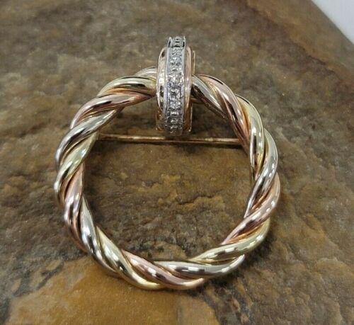 J Signed 14k Yellow Rose Gold Diamond Twist Rope Wreath Brooch Pin 2.9g Vintage