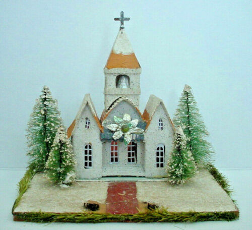 Vintage Christmas Church House on Wood Platform Base