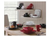 Collection Bosa 16 Piece Square Stoneware Dinner Set - Red