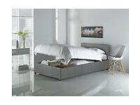 Brand New Hygena Single 3ft Lavendon Ottoman Bed Frame in Grey Faux Leather