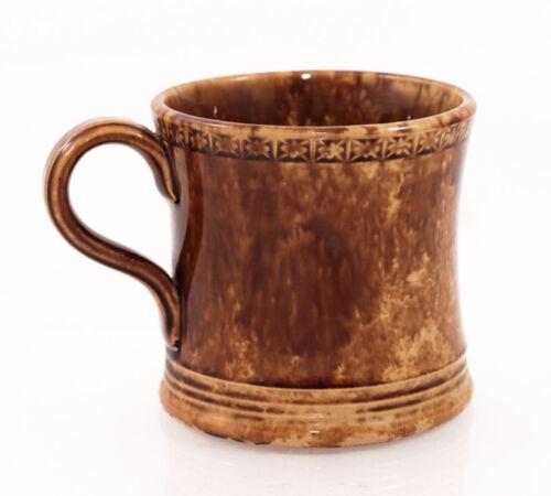 19c. spattered brown flint enamel yellow ware mug, Bennington style [11792]