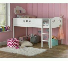 £100 - Mia Mid Sleeper Bed Frame - White - delivery available