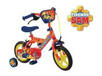 Boys Brand New Fireman Sam Bike 12 Inch