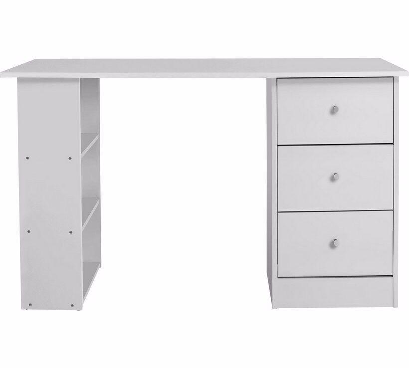 3 Drawer White Study Desk