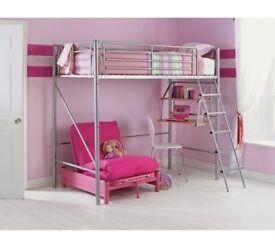 High sleeper bed frame with mattress