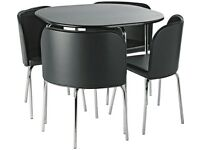Black dining room table and chairs