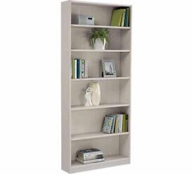 Maine 5 Shelf tall wide bookshelves Grey