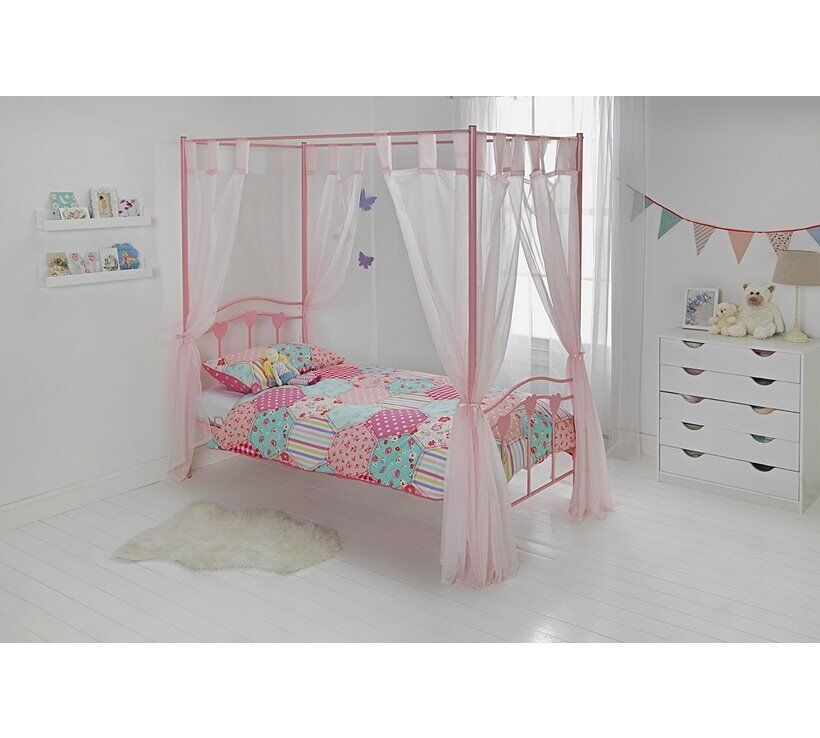 Single 4 Poster Bed Part - 31: Brand New Hearts Single 4 Poster Bed Pink 3ft - Still For Sale