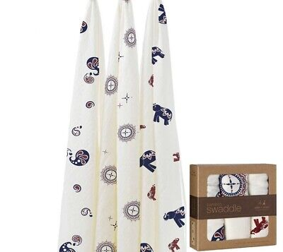 New Aden & Anais 3 pack Bamboo Swaddle Muslin Baby Blankets Diwali NWT 47X47
