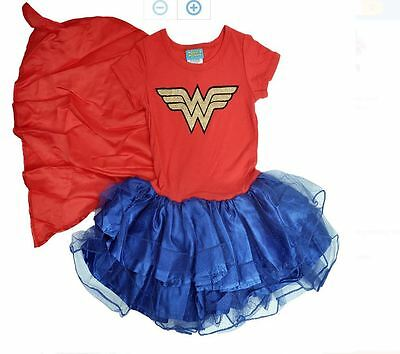 Wonder Woman Girls Cape Tutu Costume Dress Play wear
