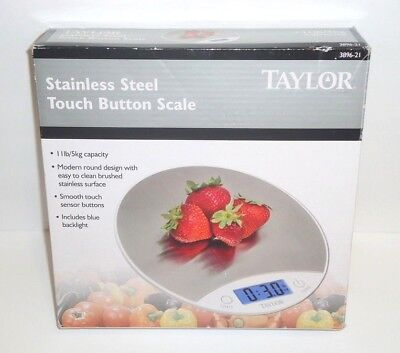 TAYLOR 11 Lb. Capacity Stainless Steel Touch Button Food Scale Model 3896-21