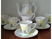 Very Pretty Art Deco handpainted Royal Stafford China Coffee Set, for Vintage Tea Party set, Wedding