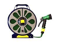 Marksman 50ft Garden Hose Pipe Reel 15m Hosepipe With 7 Dial Spray Gun Nozzle