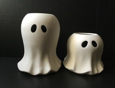 YANKEE CANDLE WHITE PORCELAIN GHOST TEA LIGHT CANDLE HOLDERS X 2 HALLOWEEN - Halloween Tea Light Holders
