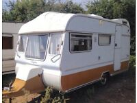 5 berth vintage caravan with glass windows and full size original awning,