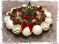Handmade Christmas decorations and wreaths