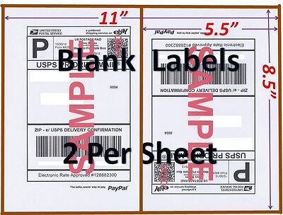 S 500 Shipping Labels Blank Labels -2/sheet-usps Ups Fedex Paypal Self Adhesive