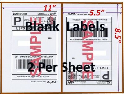 S 1500 Shipping Labels Blank Labels -2/sheet-usps Ups Fedex Paypal Self Adhesive