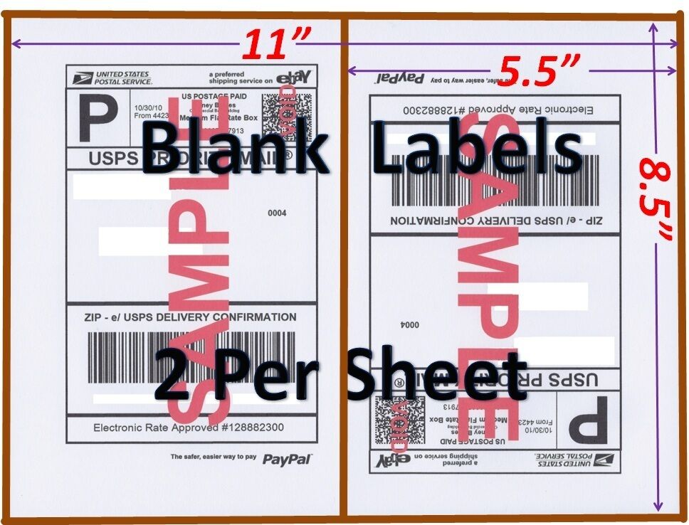 S 200 Shipping Labels Blank Labels -2/sheet-usps Ups Fedex Paypal Self Adhesive